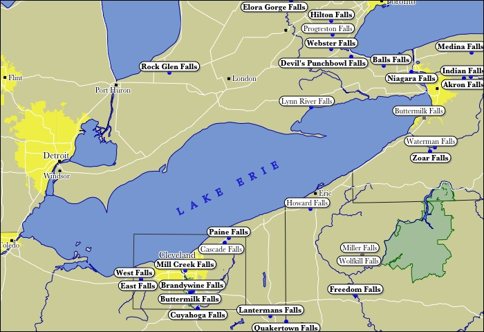 Map Lake Erie Canada Map of Lake Erie WaterFalls