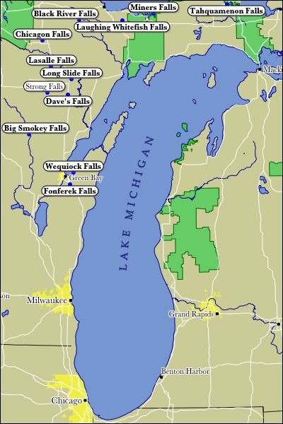 Map of Lake Michigan WaterFalls