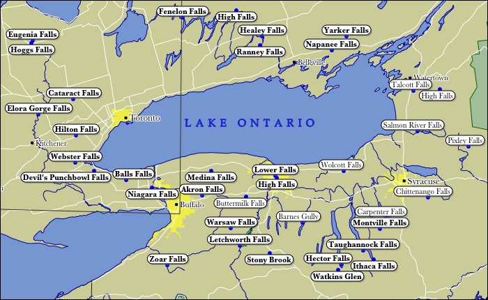 Map Of Lake Ontario WaterFalls - Map of usa with lakes