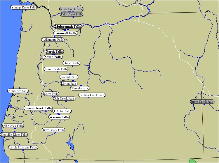 Map of Oregon WaterFalls A Map Of Oregon on