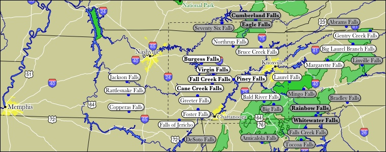 Map Of Tennessee WaterFalls - Map of east tn