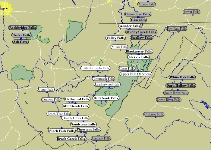 Map Of West Virginia WaterFalls - State of west virginia map