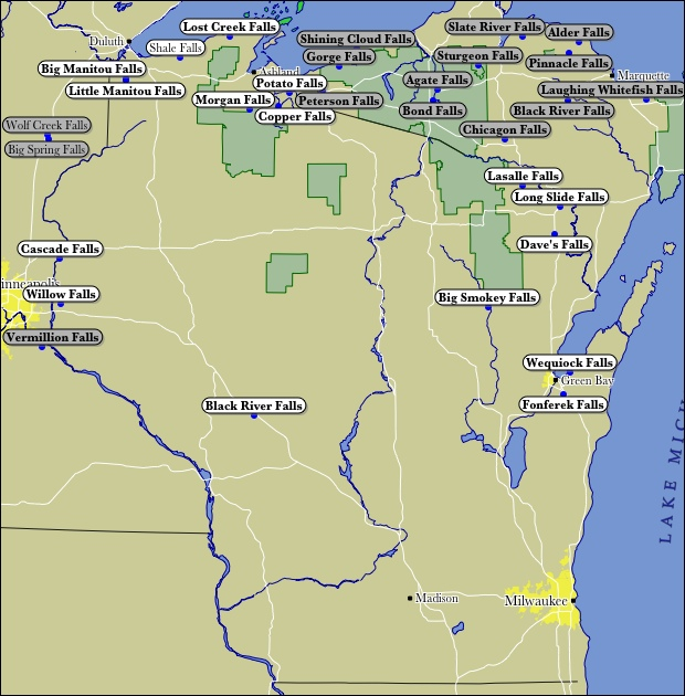 Map Of Wisconsin WaterFalls - Map of northern wisconsin lakes
