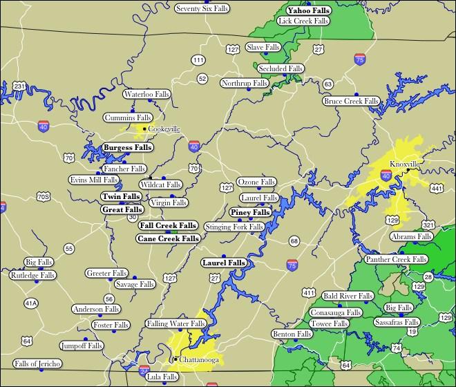 Cumberland Plateau Map Map of WaterFalls on Tennessee's Cumberland Plateau Cumberland Plateau Map