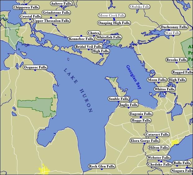 Lake Huron Map Map of Lake Huron Waterfalls
