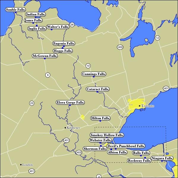 Niagara Escarpment Map Map of Niagara Escarpment Waterfalls Niagara Escarpment Map