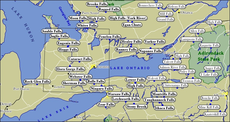 Southern Ontario Map Map of Southern Ontario WaterFalls Southern Ontario Map